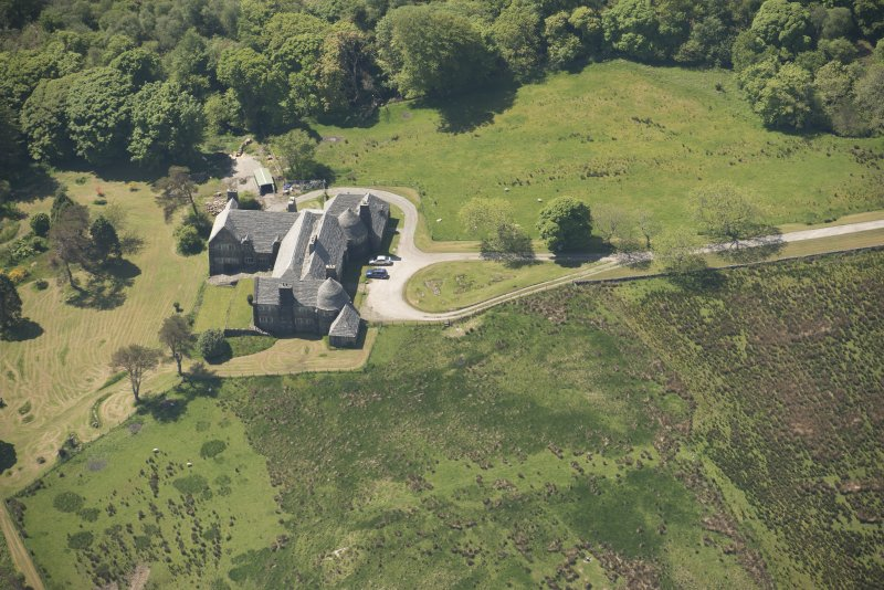 Oblique aerial view of Cour House, looking to the SW.