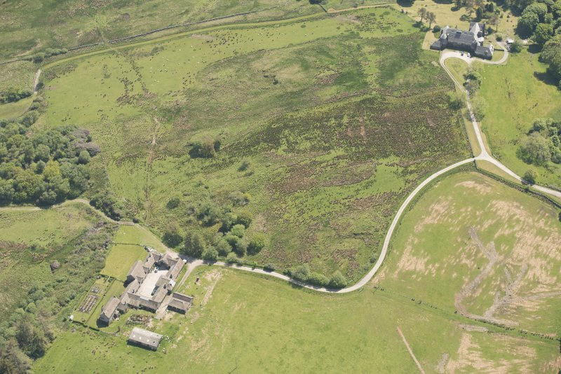 Oblique aerial view of Cour House with adjacent steading, looking to the SE.