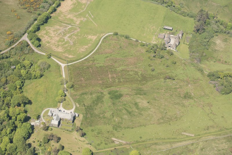 Oblique aerial view of Cour House with adjacent steading, looking to the NNW.