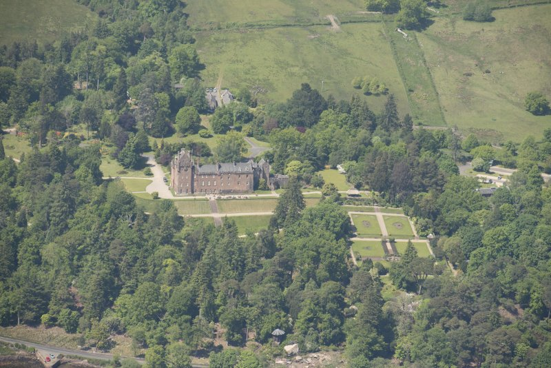Oblique aerial view of Brodick Castle, looking to the NW.