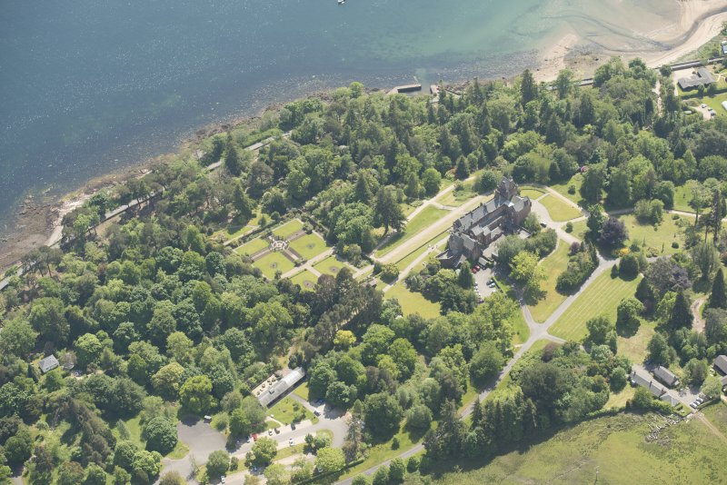Oblique aerial view of Brodick Castle, looking to the S.