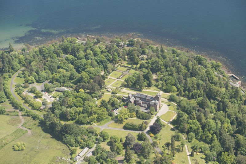 Oblique aerial view of Brodick Castle and walled garden, looking to the SE.