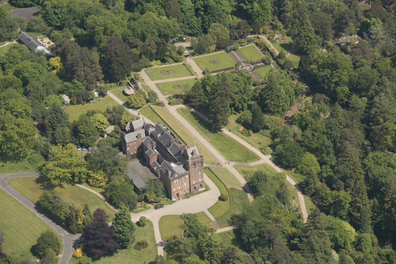 Oblique aerial view of Brodick Castle, looking to the E.