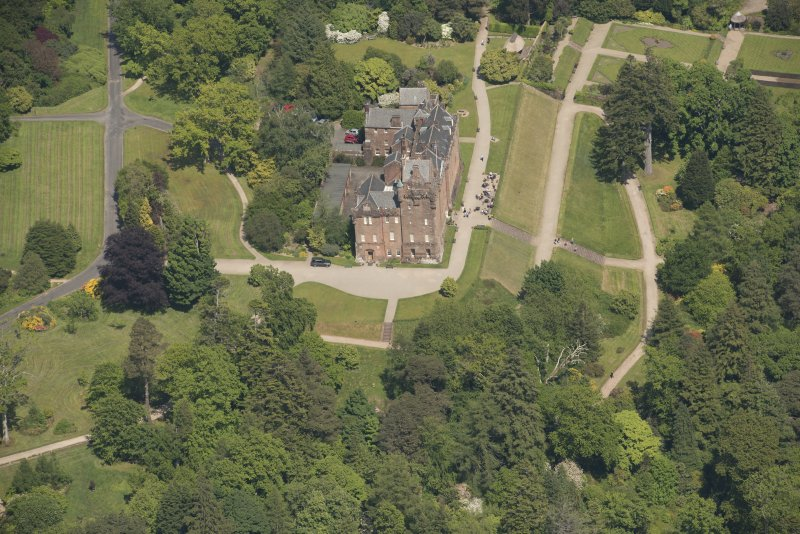 Oblique aerial view of Brodick Castle, looking to the NE.