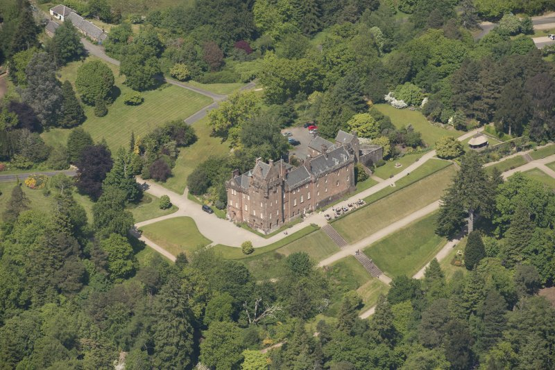 Oblique aerial view of Brodick Castle, looking to the NNW .