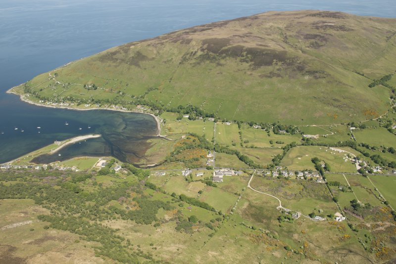 General oblique aerial view of Lochranza centred on Lochranza Golf Course, looking to the NNE.