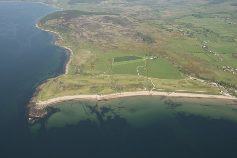 Oblique aerial view of Shiskine Golf Course and fort, looking to the NNE.