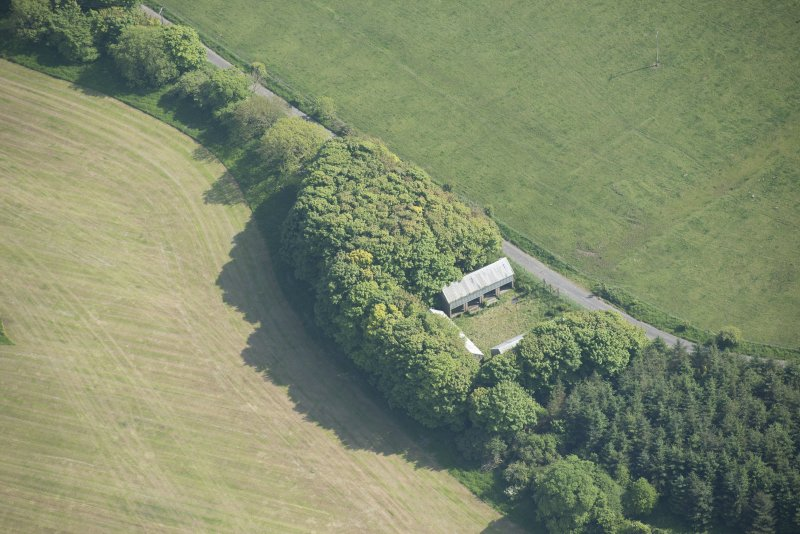 Oblique aerial view of the sheds near Howwell, looking S.