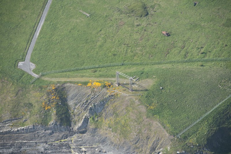 Oblique aerial view of the overhead gantry target at Little Raeberry, looking N.