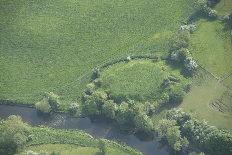 Oblique aerial view of Buittle Castle, looking to the SW.