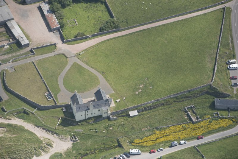 Oblique aerial view of Balnakeil House, looking to the E.