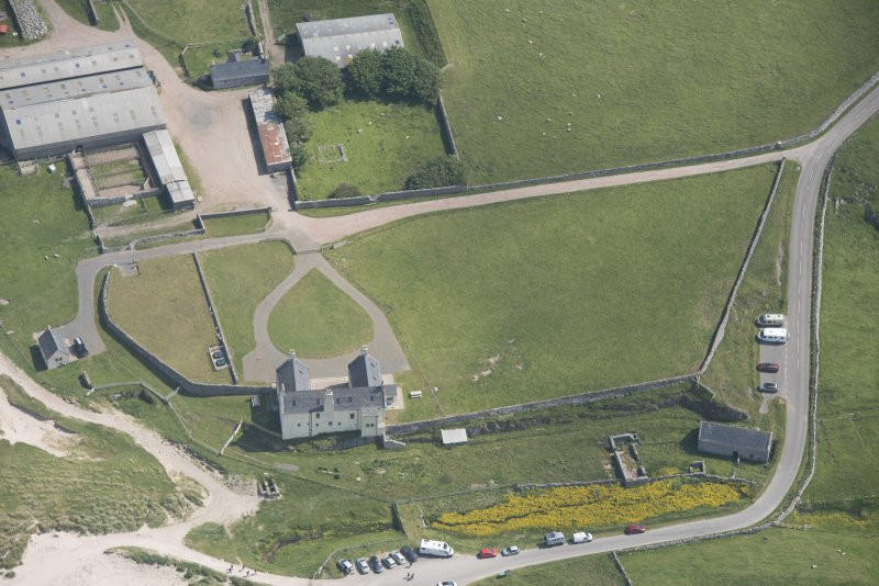 Oblique aerial view of Balnakeil House, looking to the ESE.
