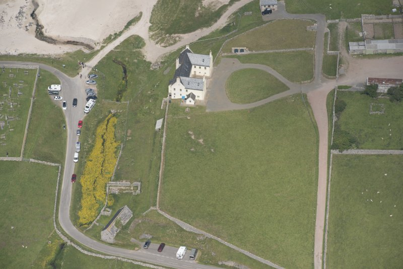 Oblique aerial view of Balnakeil House, looking to the NNE.