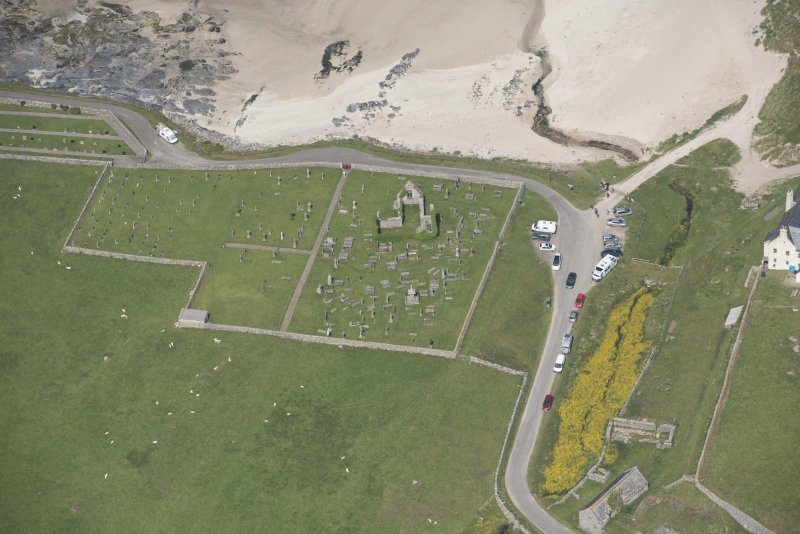 Oblique aerial view of Balnakeil Parish Church and Churchyard, looking to the N.