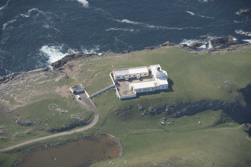 Oblique aerial view of Strathy Point Lighthouse, looking to the W.