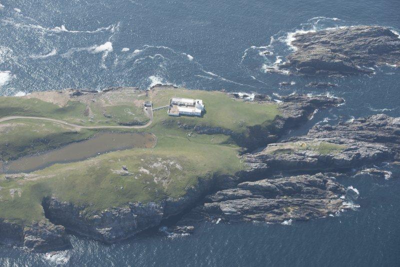 General oblique aerial view of Strathy Point Lighthouse, looking to the W.