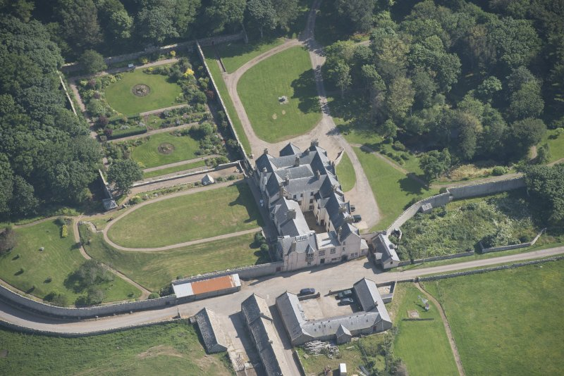 Oblique aerial view of Sandside House, looking to the SSE.