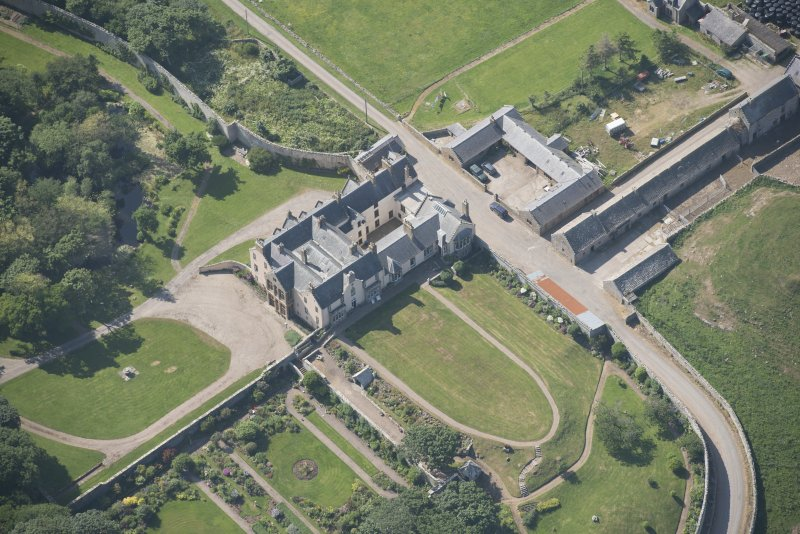 Oblique aerial view of Sandside House, looking to the W.