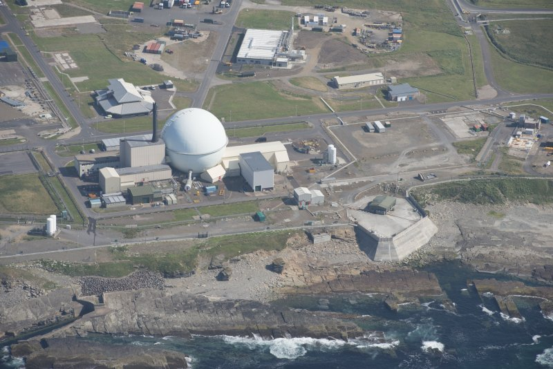 Oblique aerial view of Doureay Nuclear Research Facility, looking to the ESE.