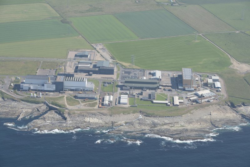 Oblique aerial view of Doureay Nuclear Research Facility, looking to the SE.
