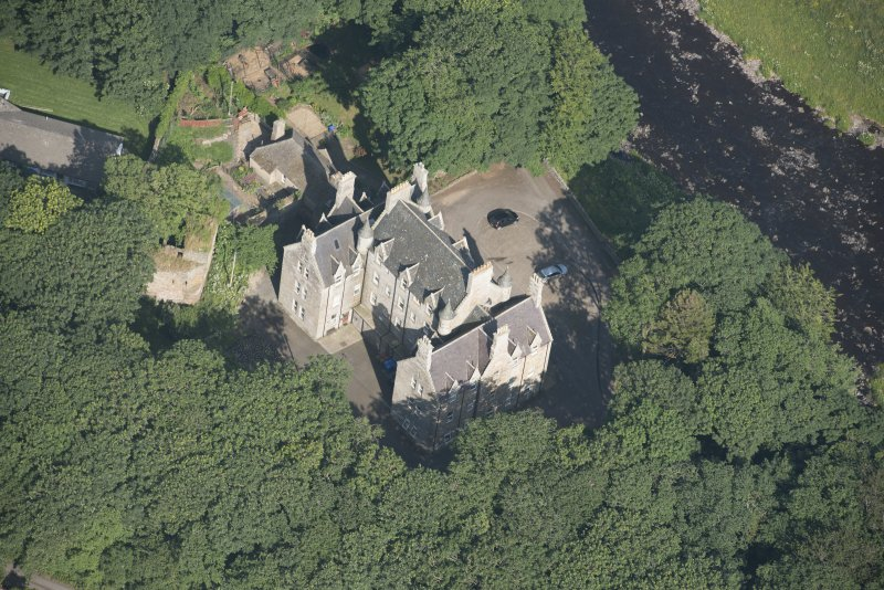 Oblique aerial view of Braal Castle and Country House, looking to the E.