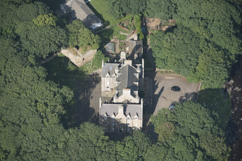Oblique aerial view of Braal Castle and Country House, looking to the NE.