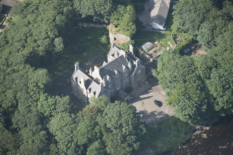 Oblique aerial view of Braal Castle and Country House, looking to the N.