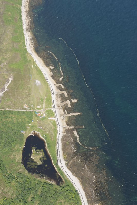 Oblique aerial view of the Loch Eriboll shellfish farm at Laid, looking to the NNE.
