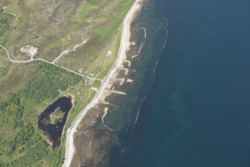 Oblique aerial view of the Loch Eriboll shellfish farm at Laid, looking to the N.
