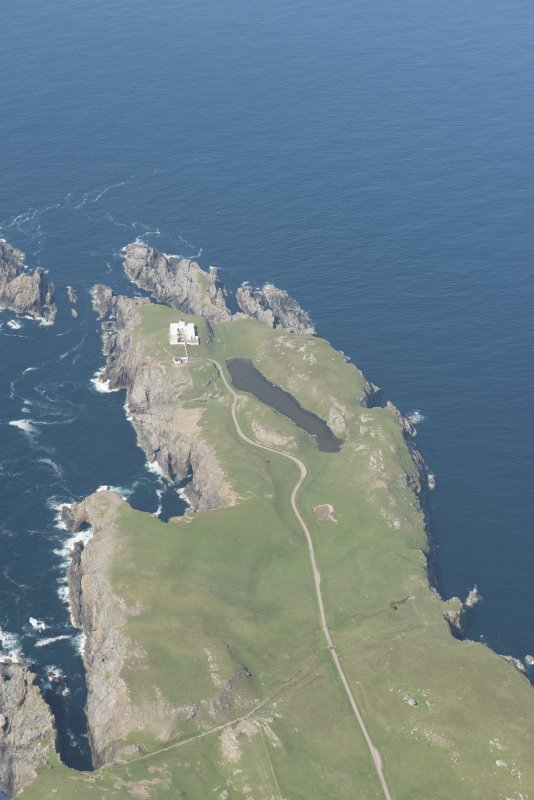 Oblique aerial view of Strathy Point Lighthouse, looking to the N.