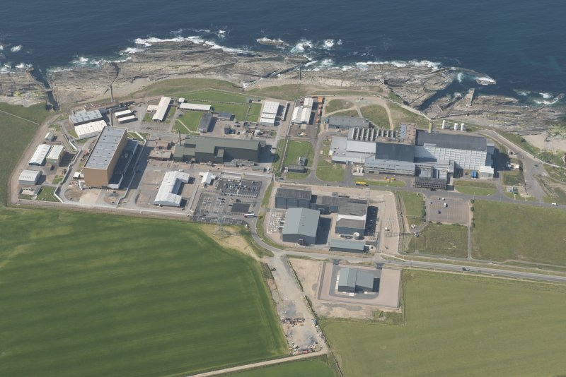 Oblique aerial view of Dounreay and Nuclear Research Facility, looking to the NW.