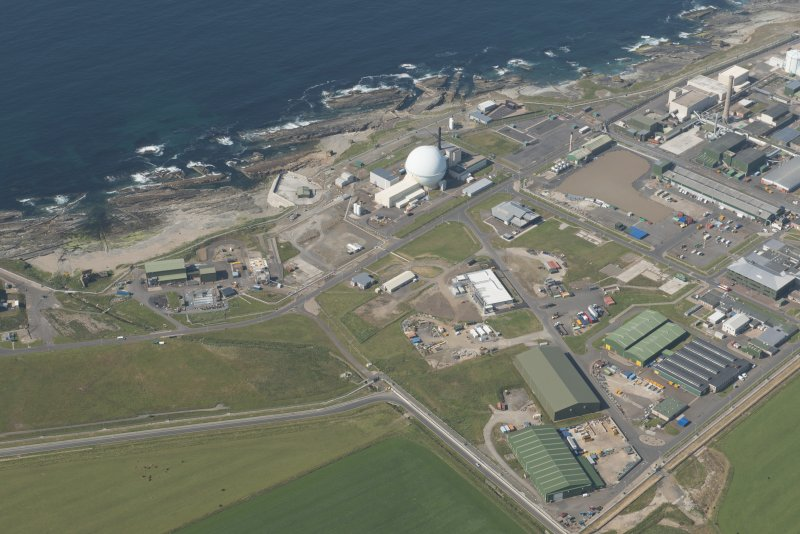 Oblique aerial view of Dounreay and Nuclear Research Facility, looking to the NNW.
