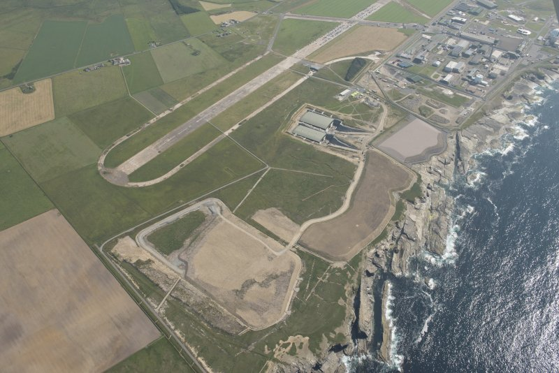 Oblique aerial view of Dounreay, Nuclear Research Facility and airfield, looking to the SSE.
