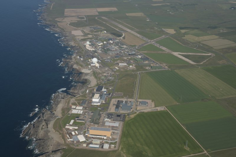 Oblique aerial view of Dounreay, Nuclear Research Facility and airfield, looking to the E.