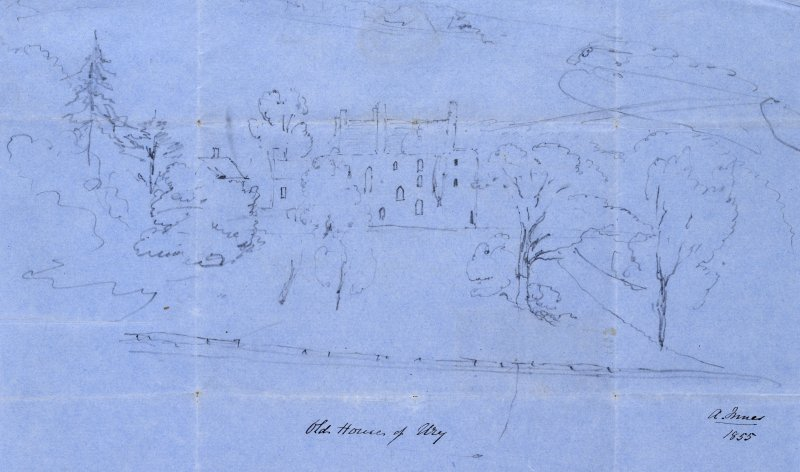 Sketch of house and gardens. Titled: 'Old House of Ury. A Innes 1855'.