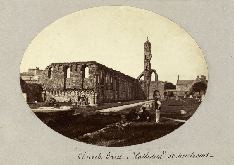 "View of St Andrews Cathedral. Titled: 'Church Gard,""Cathedral"" St. Andrews'. PHOTOGRAPH ALBUM No 4: INNES OF COWIE ALBUM"