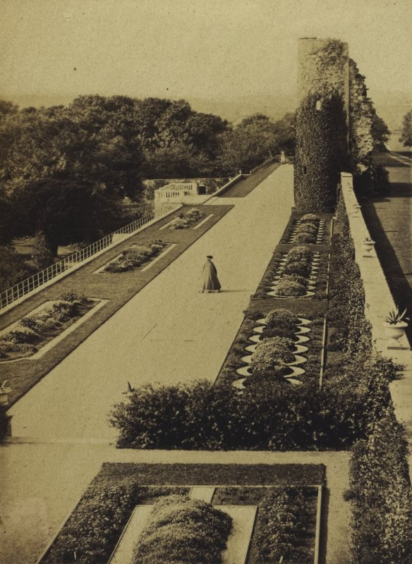 View of terrace showing planting. Titled: 'Terrace, Ellon Castle'. PHOTOGRAPH ALBUM NO 4: INNES OF COWIE ALBUM
