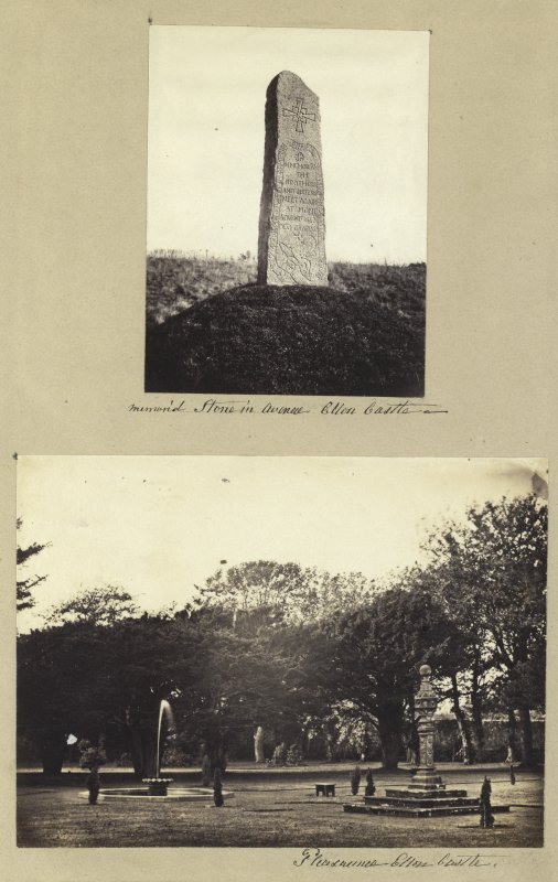 View of garden and sundial and carved stone inscribed 'In Memoria the Brothers and Sisters meet again at home advent 1862. Deo Gratias'. Titled 'Memorial stone in avenue, Ellon Castle' and 'Pleasaunce, Ellon Castle'. PHOTOGRAPH ALBUM NO 4: INNES OF COWIE ALBUM