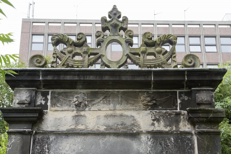 Detail of carvings on E elevation of 17th-century Garden Gateway, Moray House, 172 Canongate, Edinburgh.