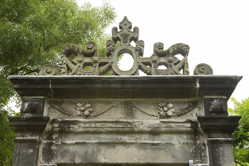 Detail of carvings on W elevation of 17th-century Garden Gateway, Moray House, 172 Canongate, Edinburgh.