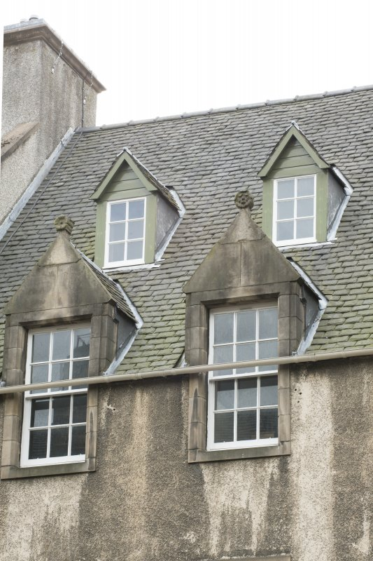 Detail of attic dormers at Playhouse and Old Playhouse Closes, 194, 196 and 198 Canongate, Edinburgh, from N.
