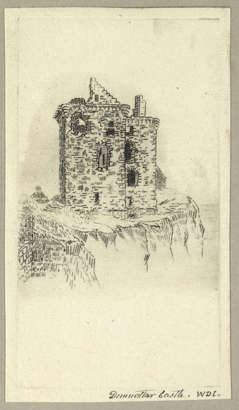 Etching showing view of castle. Titled 'Dunnottar Castle, W.D.I'. PHOTOGRAPH ALBUM NO.4: INNES OF COWIE ALBUM.