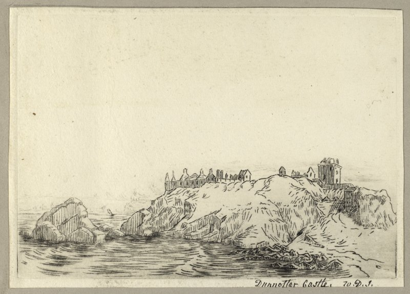 Etching showing view of castle. Titled: 'Dunnottar Castle, W.D.I'. PHOTOGRAPH ALBUM NO.4: THE INNES OF COWIE ALBUM.