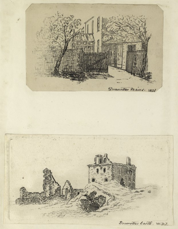 Etchings of Dunnottar Mains and Dunnottar Castle. Titled: 'W.D.I'. PHOTOGRAPH ALBUM NO.4: THE INNES OF COWIE ALBUM.