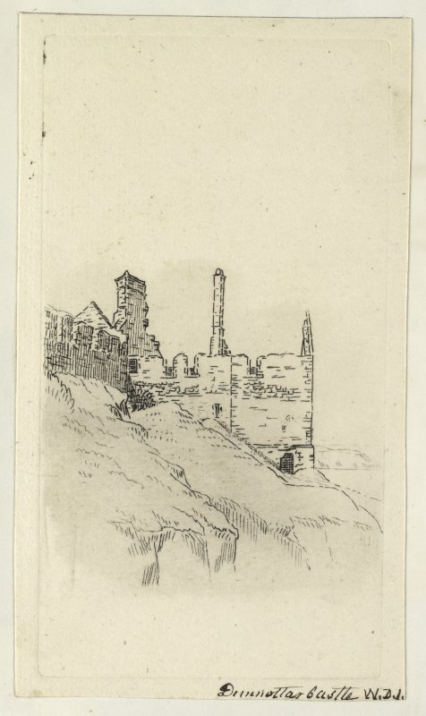 Etching showing view of castle. Titled 'Dunnottar Castle, W.D.I'. PHOTOGRAPH ALBUM NO.4: THE INNES OF COWIE ALBUM.