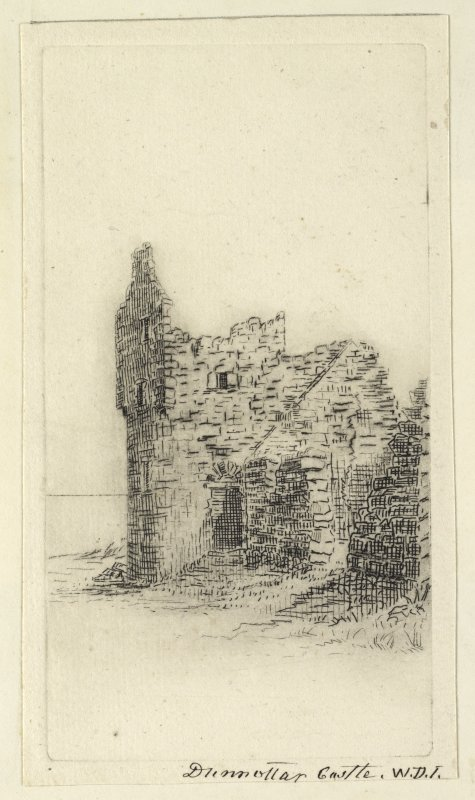 Etching of castle. Titled: 'Dunnottar Castle, W.D.I'. PHOTOGRAPH ALBUM NO.4: THE INNES OF COWIE ALBUM.