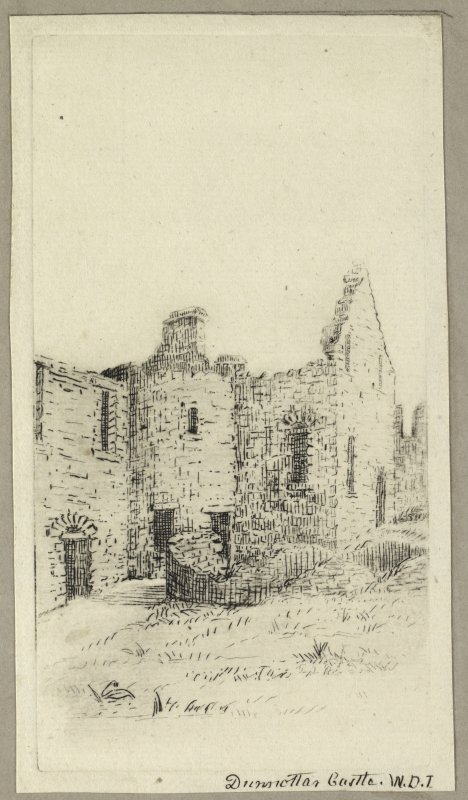 Etching showing view of Dunottar Castle. Titled 'Dunnottar Castle. W.D.I.' PHOTOGRAPH ALBUM No.4: INNES OF COWIE ALBUM.
