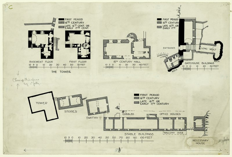 Floor plans of the tower, and plans of 16th century hall, gatehouse buildings, smithy and stables.