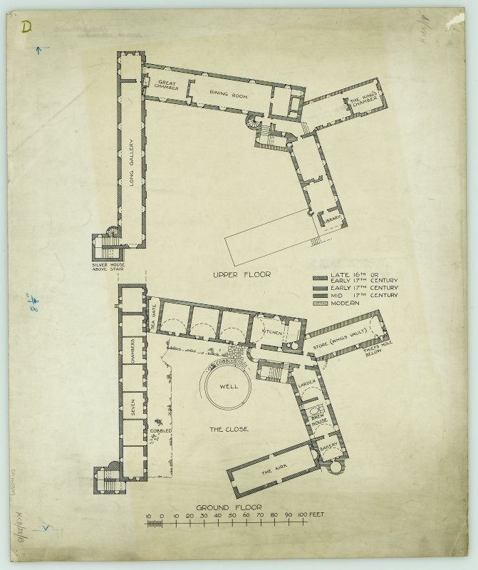 Ground and upper floor plans.