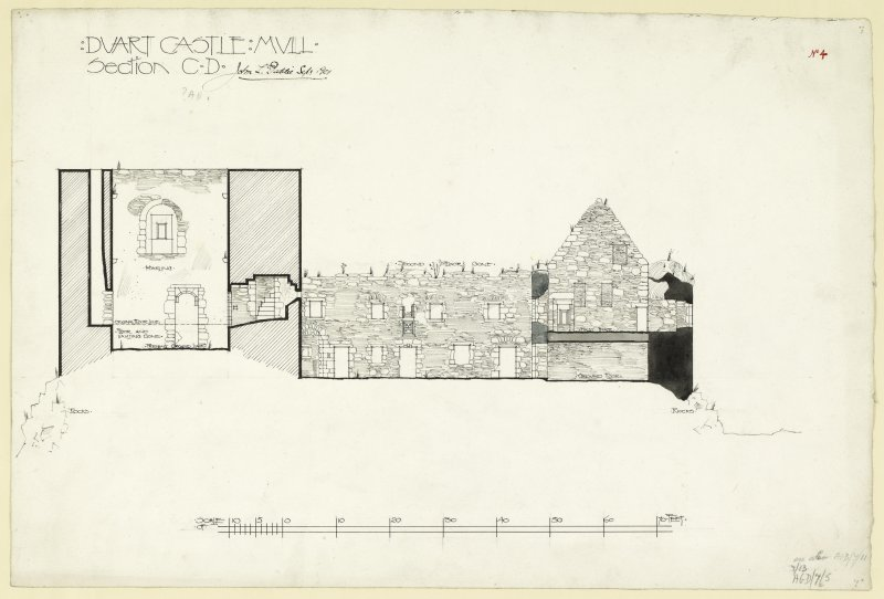 Section C-D including evidence of lost second floor of Duart Castle, Mull. Signed and dated 'John L. Peddie, Sept. 1901'.